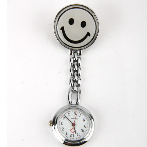 4 Colors Smile Face Nurse Watch Round Dial Pocket Brooch Clip Portable Tunic Fob