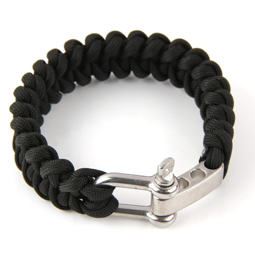 Black Hiking Outdoor Sport Paracord Survival Parachute Cord Bracelet Sport