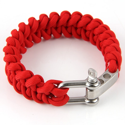 Red Shackle Buckle Paracord Survival Parachute Cord Bracelet Outdoor Sport New