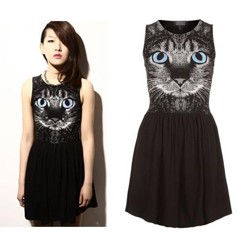 Women Animal Cat Kitten Face Print Sleeveless One Piece ...