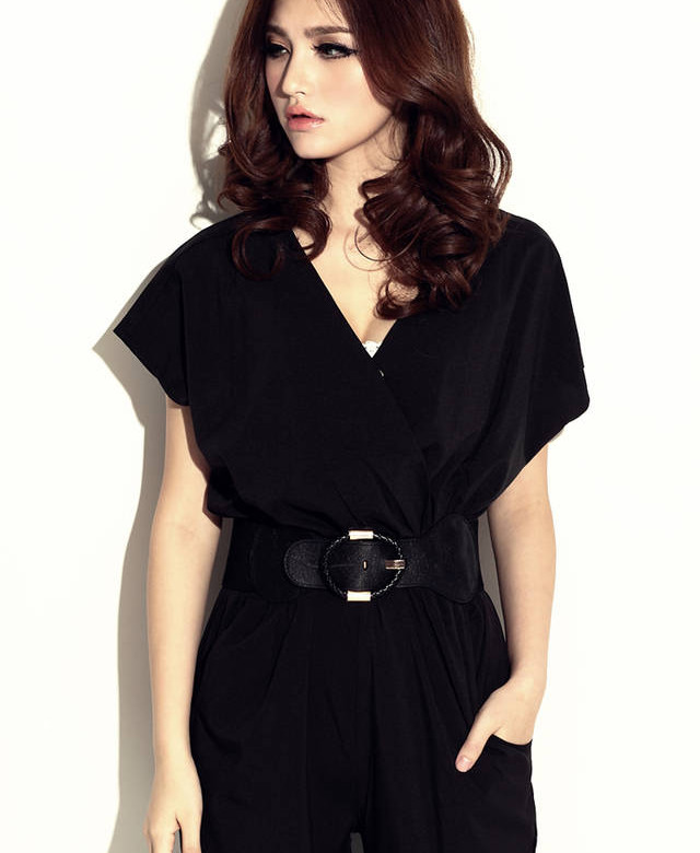 elegant damen kurz h lse v ausschnitt jumpsuit overall. Black Bedroom Furniture Sets. Home Design Ideas