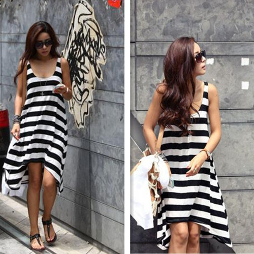 Summer-Womens-Girls-Casual-Black-and-White-Stripe-Irregular-Beach-Long-Dress