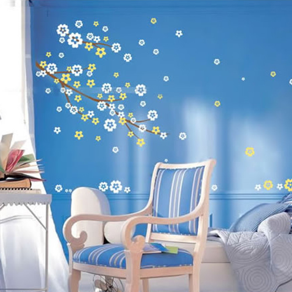 Nice small floral wall sticker bedroom decoration wall for Nice bed decoration