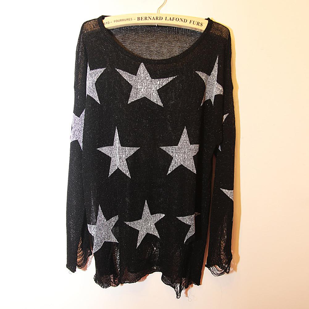 Women's Oversized Star Cross Print Frayed Jumper Hole Loose Knitwear Sweater NPA
