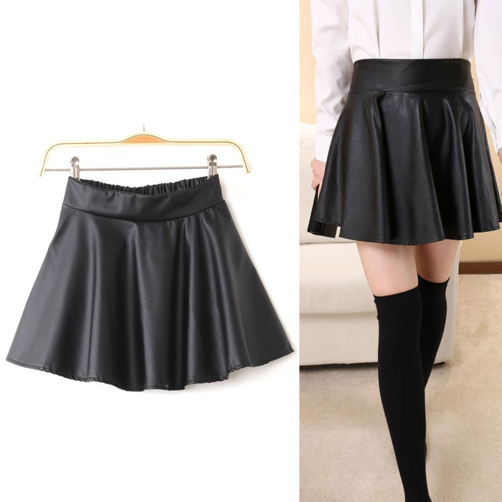 New Dress Womens Black Red Faux Leather Mini Skirt High Waist Pleated Skater
