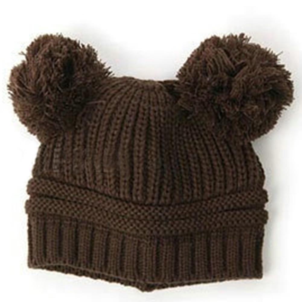 Korean Cute Baby Lovely Dual Ball Toddler Girls Wool Knit Sweater Beanie Cap Hat
