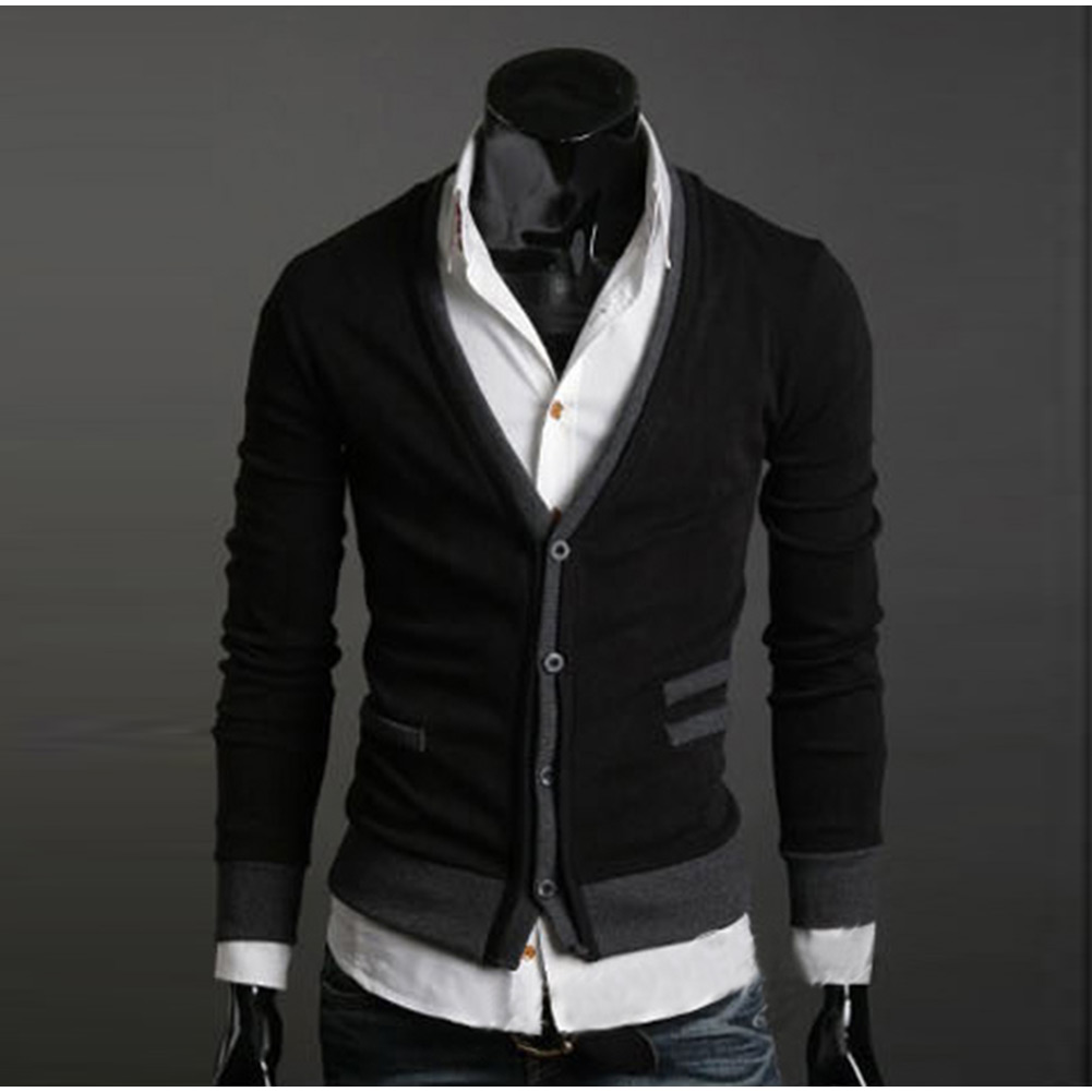 Mens Premium Stylish Slim Fit V-neck Sweater Tops Cardigan Front Button