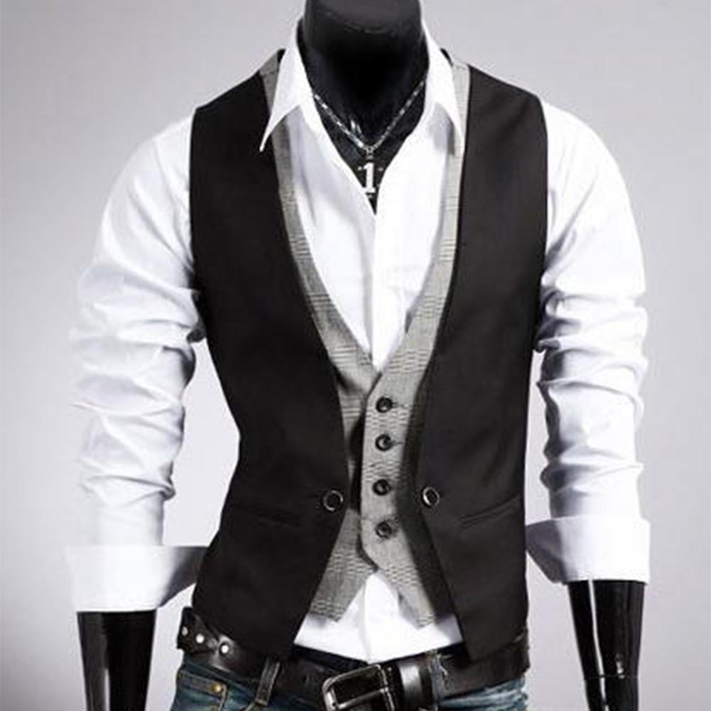 Men's Casual Designed V-neck Slim Fit Buttons Vest Waistcoat Dress 2colors
