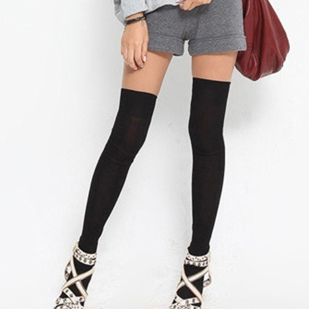 fashion long socks thigh high cotton stockings over knee hose grey