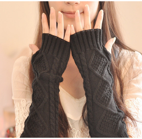 Long Knitted Crochet Wool Braided Wrist Hand Arm Warmer Mitten Fingerless Gloves