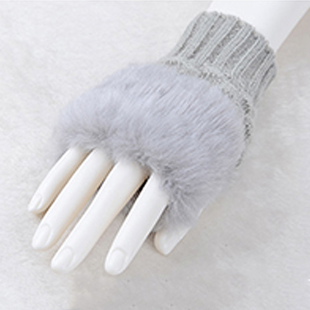 Women-Lady-Girl-Faux-Rabbit-Fur-Hand-Wrist-Warmer-Knitted-Fingerless-Gloves