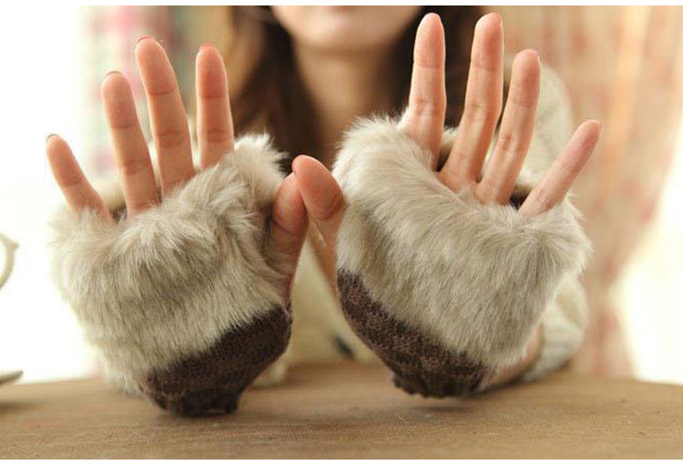 Women Lady Girl Faux Rabbit Fur Hand Wrist Warmer Knitted Fingerless Gloves