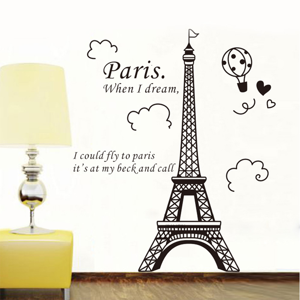 elegant paris eiffel tower vinyl lovely wall sticker decals mural art ebay. Black Bedroom Furniture Sets. Home Design Ideas