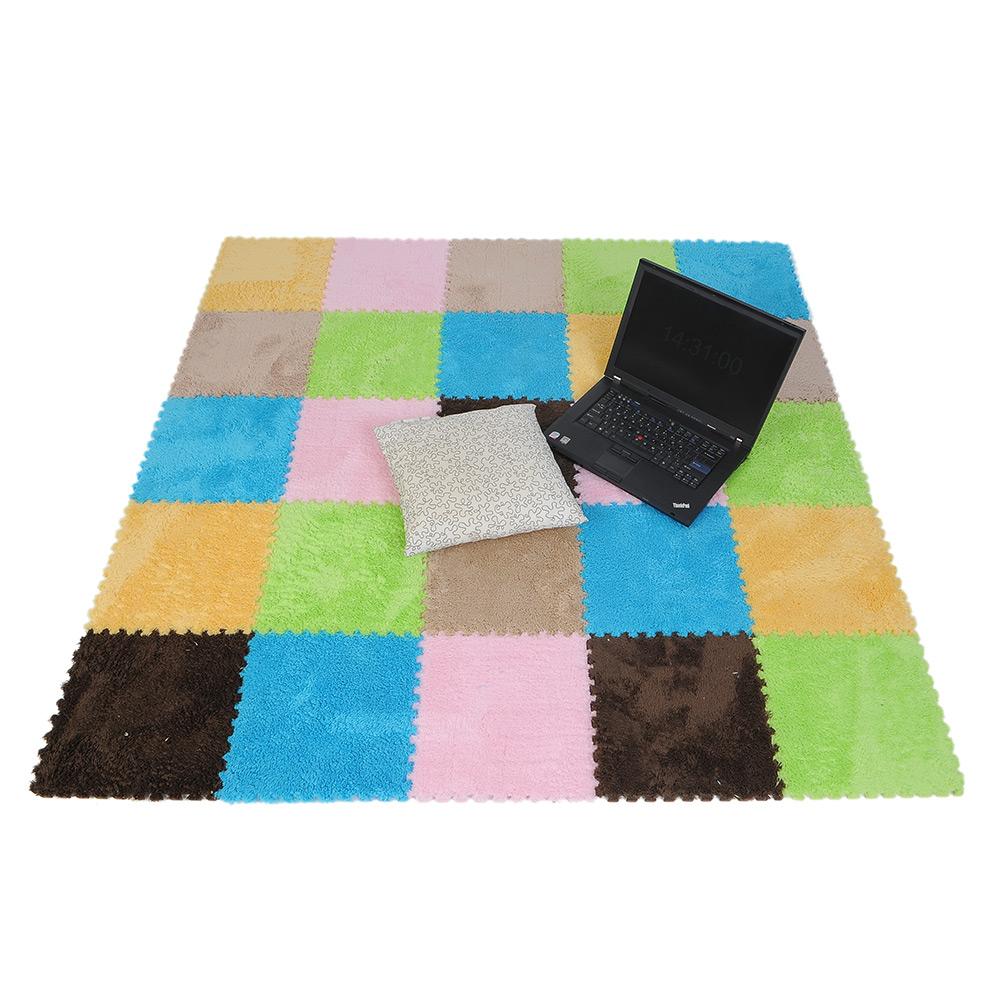 9pcs Soft Plush Floor Covering Foam Puzzle Floor Mats