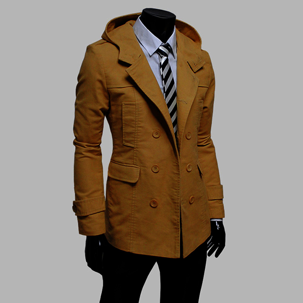neu herrenmode m nner winter slim fit mantel lang hoodie jackets top overcoat ebay. Black Bedroom Furniture Sets. Home Design Ideas