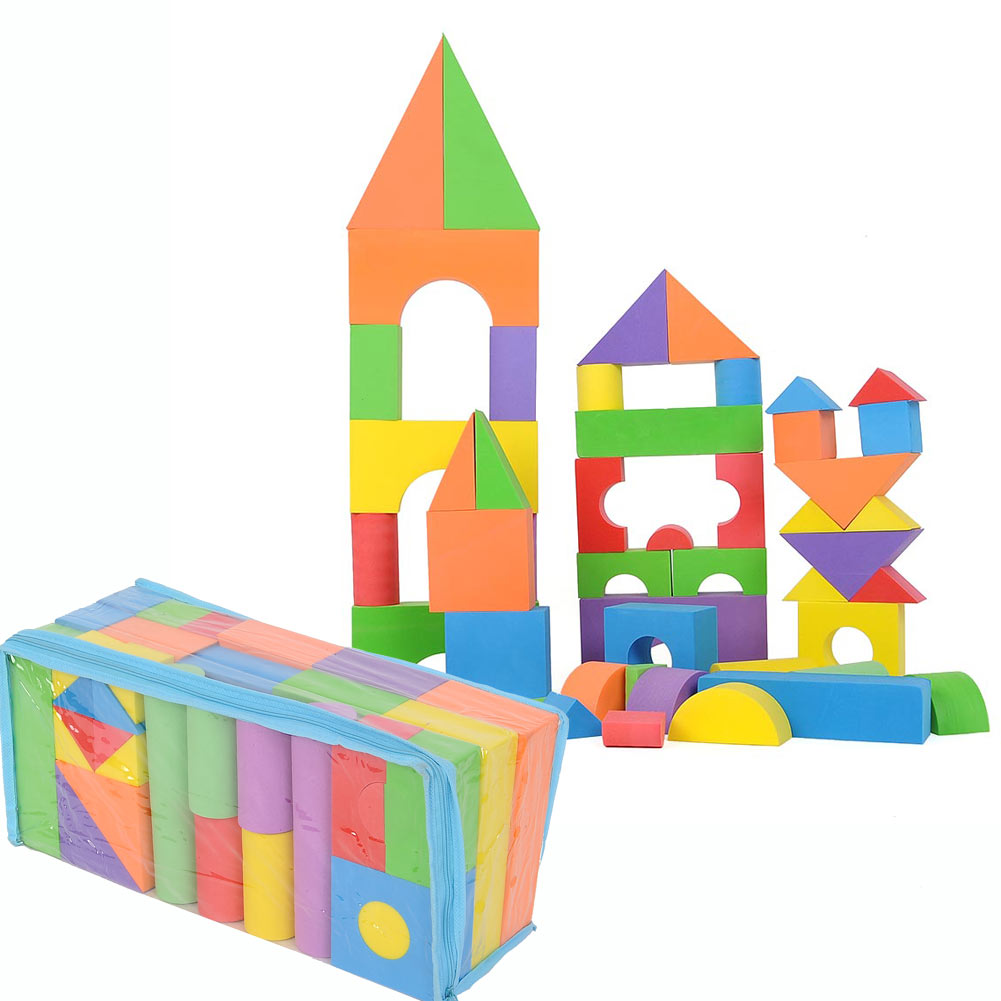 50pcs Soft Eva Foam Building Blocks Set Children Play