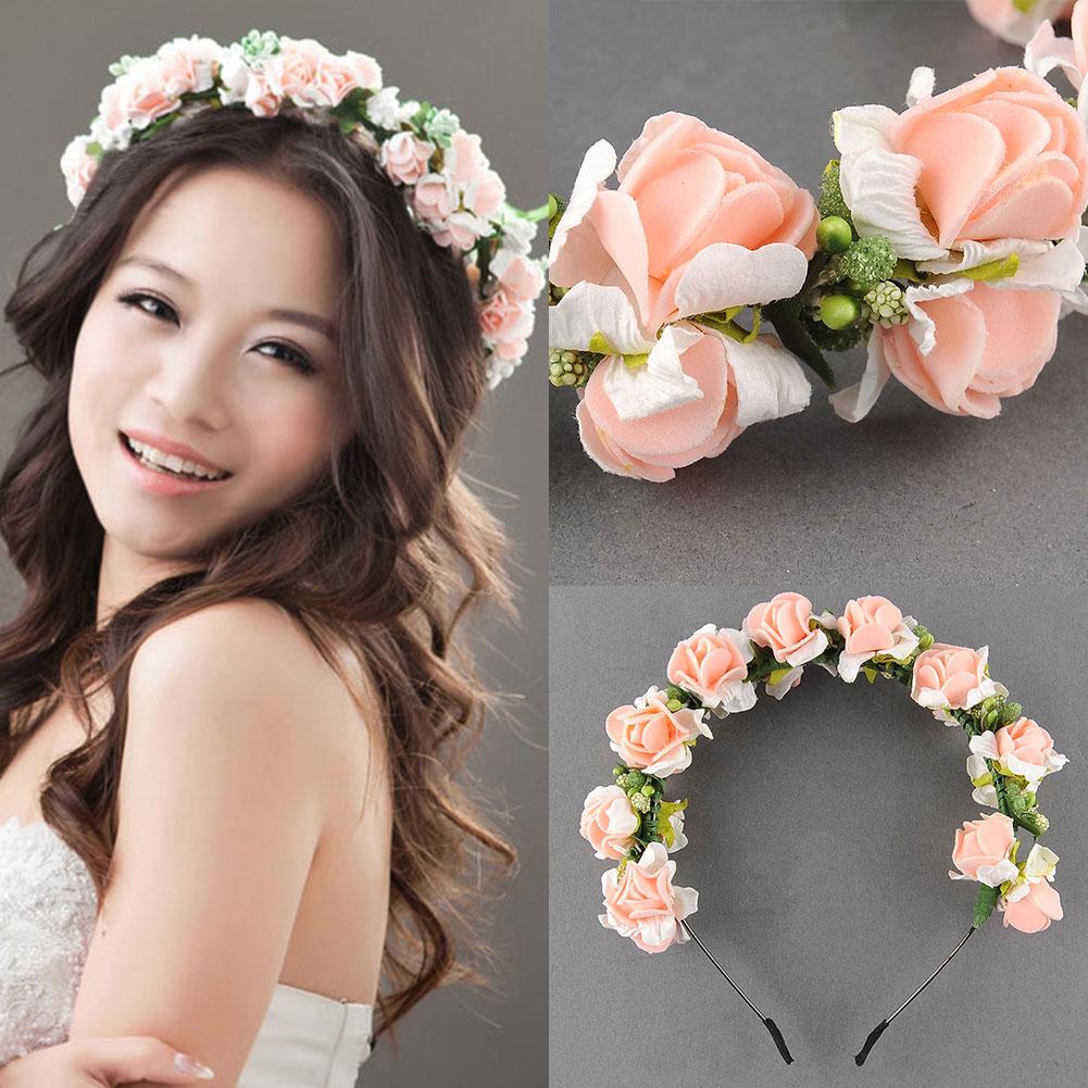 Flower garland floral bridal headband hairband wedding prom pink flower garland floral bridal headband hairband wedding prom mightylinksfo