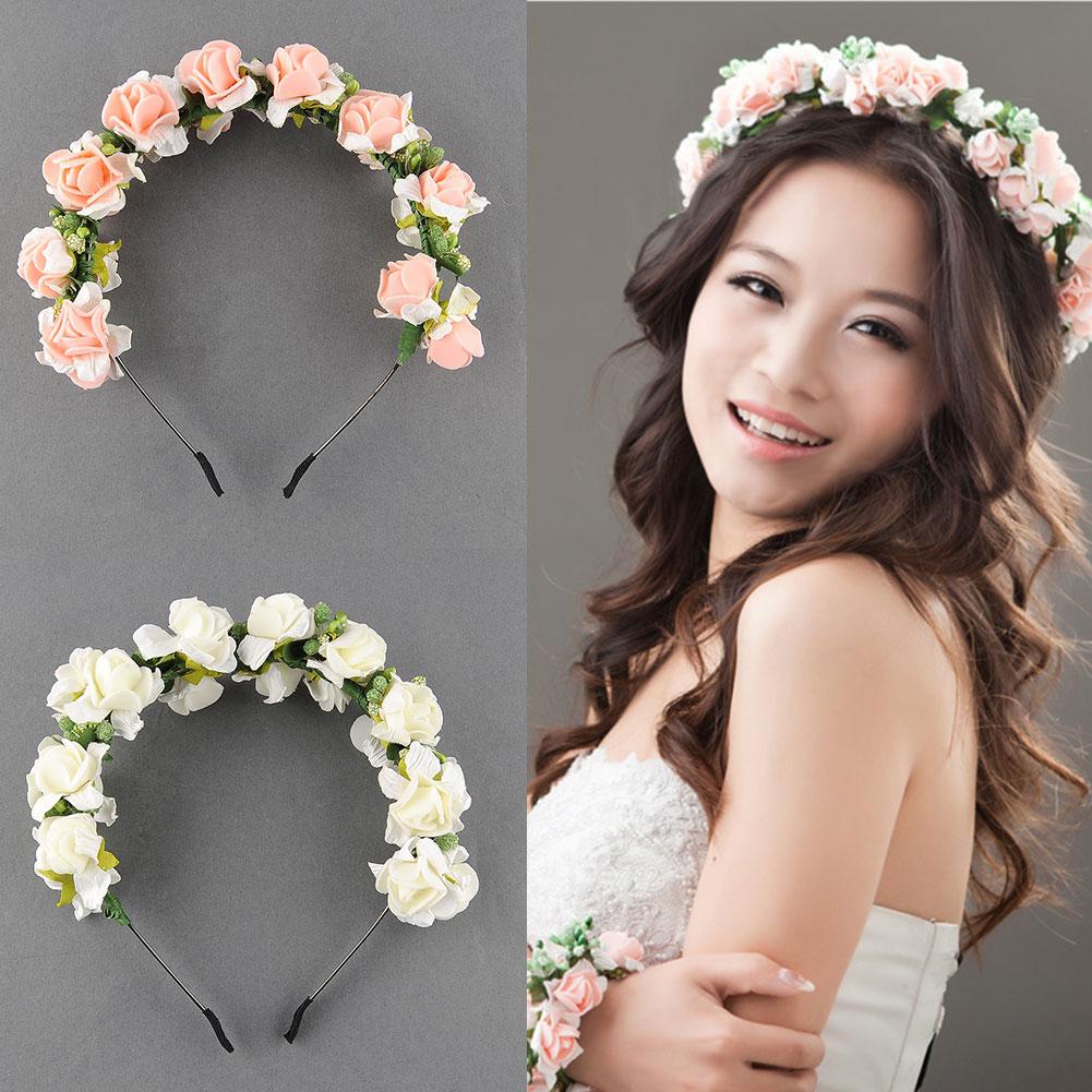 Flower-Garland-Floral-Bridal-Headband-Hairband-Wedding-Prom-Hair-Accessories