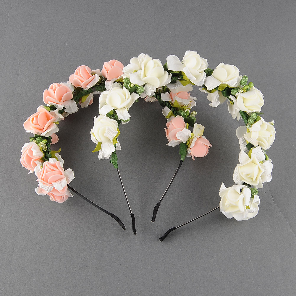 Flower Garland Floral Bridal Headband Hairband Wedding Prom Festival Pink White