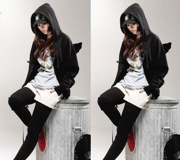 Fashion Cute Womens Girls Angel Wings Hoodie Sweatshirt Hooded Coat Tops