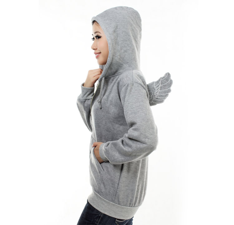 Fashion Cute Womens Girls Angel Wings Hoodie Jacket Sweatshirt Outerwear Tops