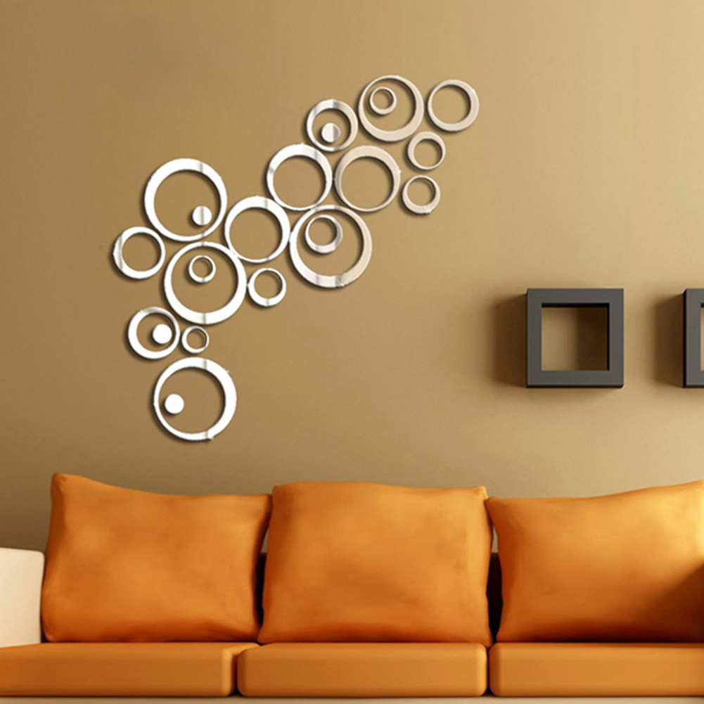 Hot diy acrylic mirror wall stickers very nice office for Miroir stickers