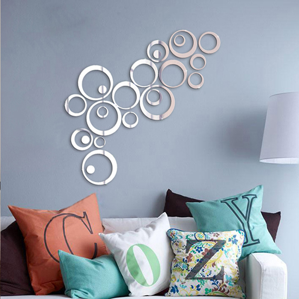 Silver tone acrylic 3d mirror effect wall sticker circle for Wall decor mirror home accents