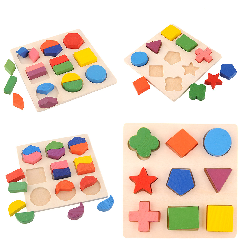 3x holz puzzle block geometrie steckspiel lernspielzeug. Black Bedroom Furniture Sets. Home Design Ideas