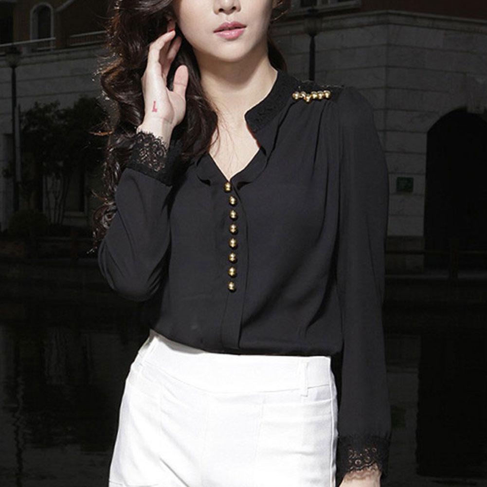 Hot Women's Fashion Lace Long Sleeve Chiffon T-shirt Casual Blouse Tops