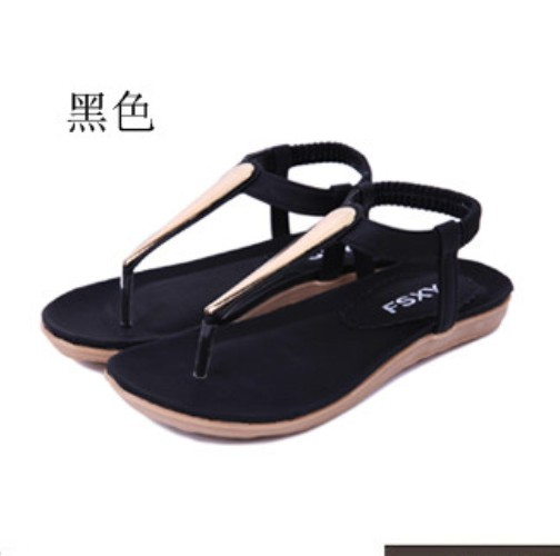 New Summer Women Lady Girl Metal Ethnic sandals Flat Heel T-Strap  Sandel