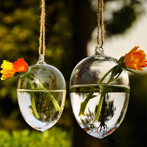 Cute Clear Hole Glass Angel Shape Flower Plant Hanging Vase Home Decor