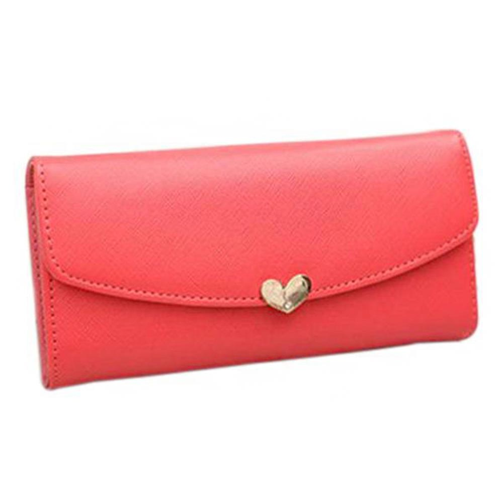 Hot Fashion Women's Button Leather Clutch Wallet Purse Card Long Handbag Heart