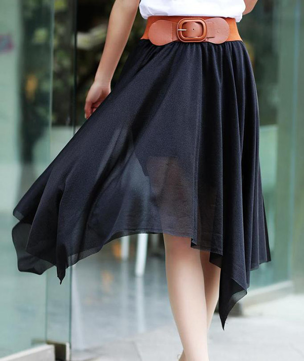 New Women Chiffon Irregular Long Maxi Pleated Dress Elastic Belt Skirt