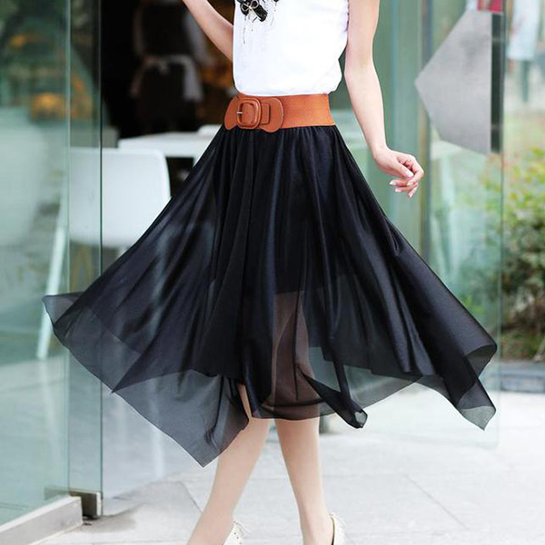 New-Women-Chiffon-Irregular-Long-Maxi-Pleated-Dress-Elastic-Belt-Skirt