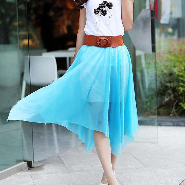 Fashion-Women-Lady-Chiffon-Irregular-Long-Maxi-Dress-Elastic-Belt-Skirt