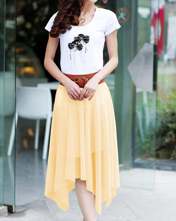 Fashion Women Lady Chiffon Irregular Long Maxi Dress Elastic Belt Skirt