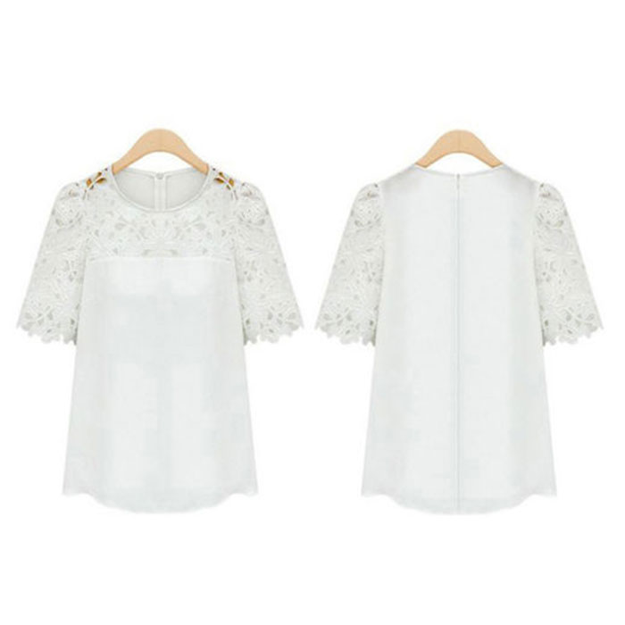 New Women Stylish Soft Shoulder Lace Hollow Short Sleeves Splice Top Shirt S-XL