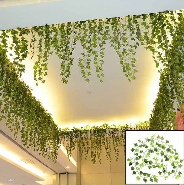 Boston ivy artificial fake leaf garland plant vine foliage for Artificial plants for decoration