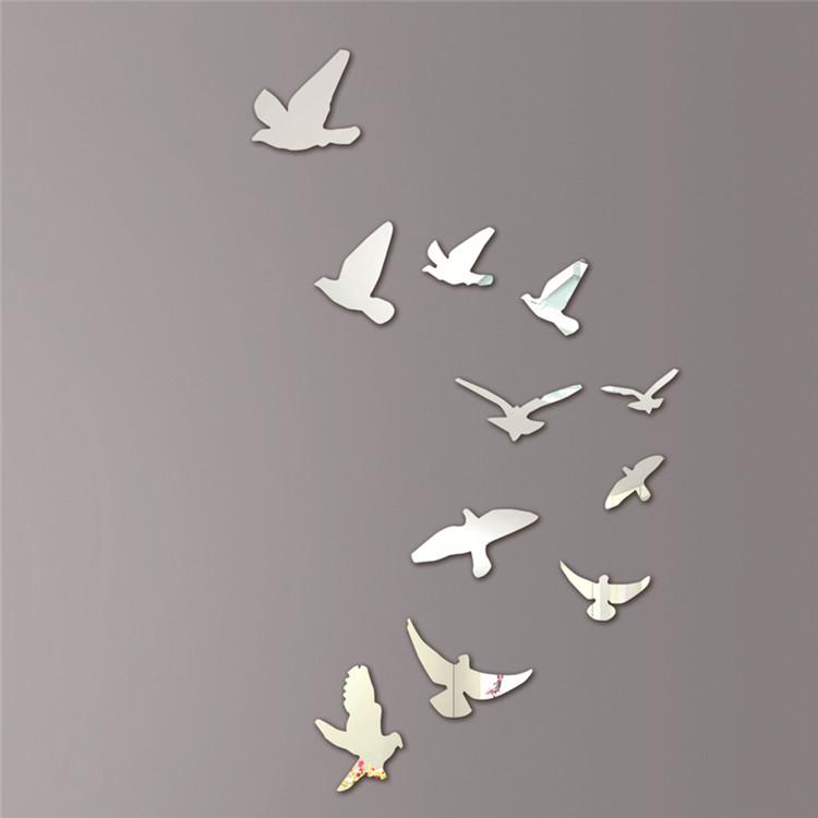 Acrylic birds design mirror effect mural wall sticker modern decor decoration - Decoration miroir mural ...