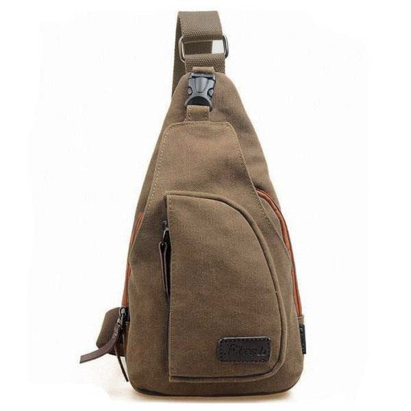 Mens Small Canvas Messenger Shoulder Sports Crossbody Rucksack Bag Coffee