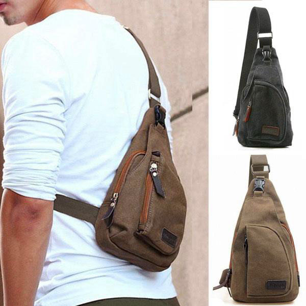 Mens-Small-Canvas-Messenger-Shoulder-Sports-Crossbody-Rucksack-Bag-Coffee