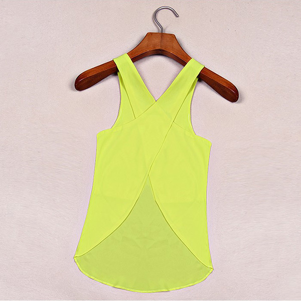 Womens Chiffon Sleeveless Blouse Sexy Summer Candy Color Tops Women Vest L-XXL