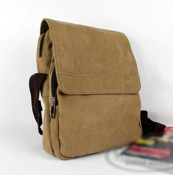 New Retro Mens Vintage Canvas Messenger Bag School Military Shoulder Bag Black