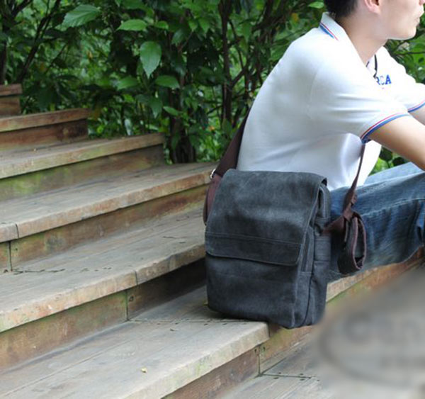 New Retro Mens Vintage Canvas Messenger Bag School Military Shoulder Bag Black