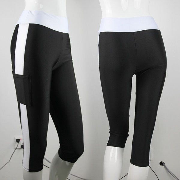 Women Lady Running Yoga Sport Pants High Waist Cropped Fitness Trousers Navy
