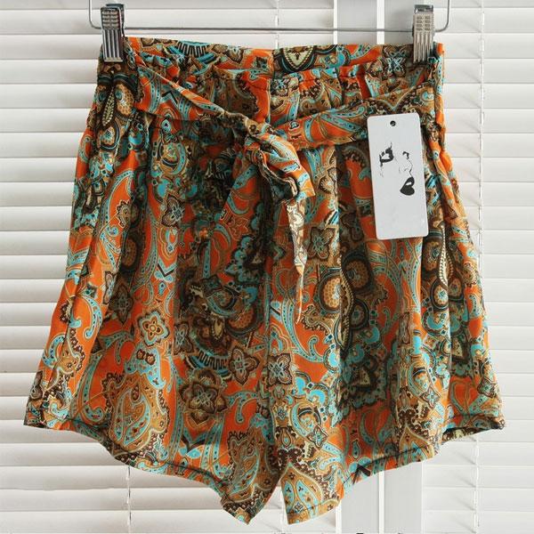Hot Fashion Women's Elastic Shorts Floral High Waist Skirt Short Pants