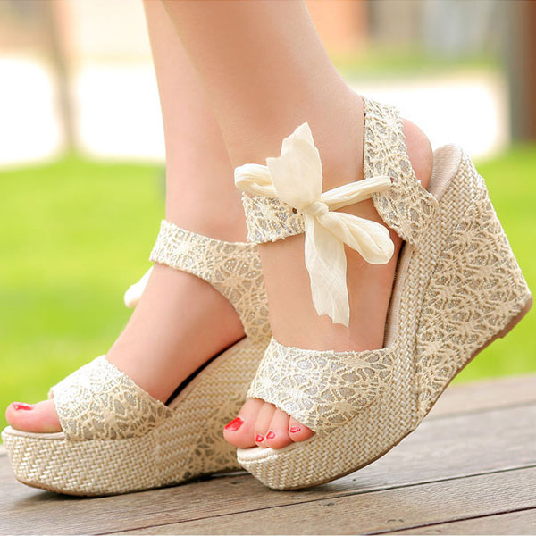 Summer Womens Lady Sweet Wedge Platform Sandals Bowknot Ankle ...
