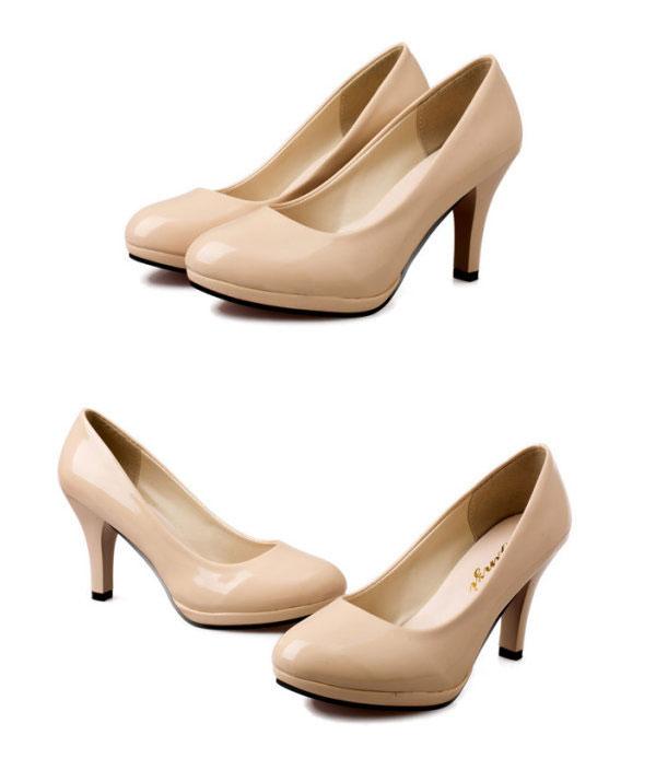 Womens Classic Stilettos High Heel Dress Work Platform Pump Shoes Apricot