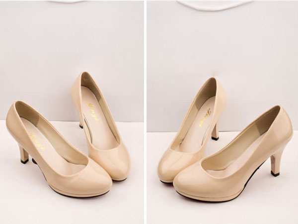 Womens Classic Stilettos High Heel Dress Work Platform Pump Shoes Apricot