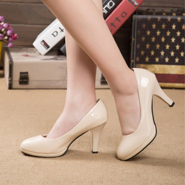 Womens-Classic-Stilettos-High-Heel-Dress-Work-Platform-Pump-Shoes-Apricot